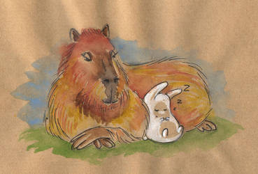 Capybara and bunny by jkBunny