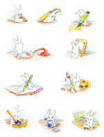 Bunny is drawing by jkBunny