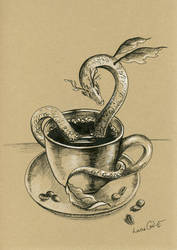 Inktober 04: Coffee Dragon by LucieOn