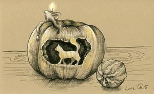 Inktober 11: Halloween Kitty by LucieOn