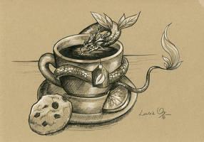 Inktober 18: Tea Dragon by LucieOn