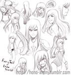 Erza Scarlet Sketch dumps (VERY OLD) by KaenBlue