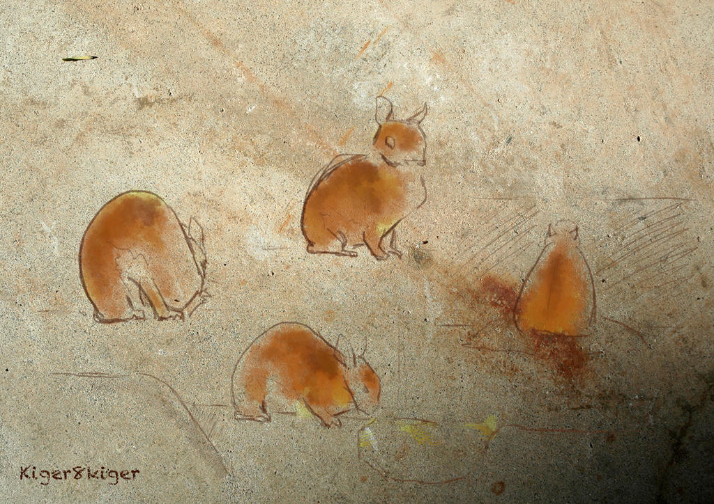 Rabbits on a wall by kiger8kiger