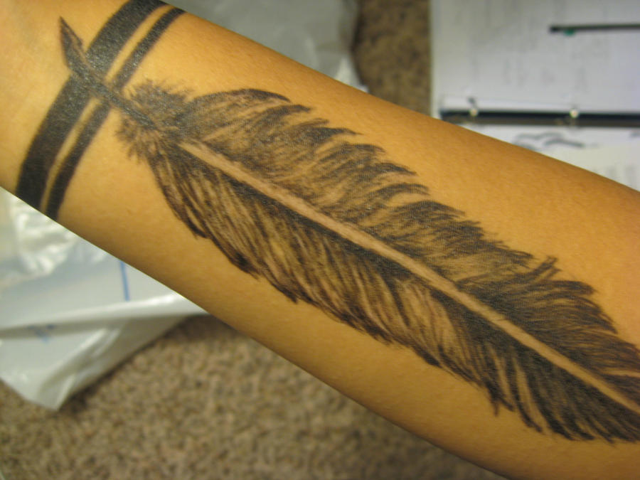 Feather tattoo by jesikakeo on deviantart for Feather tattoo wrist