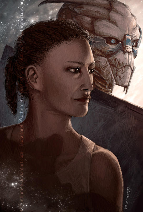 Lara and Garrus by suthnmeh