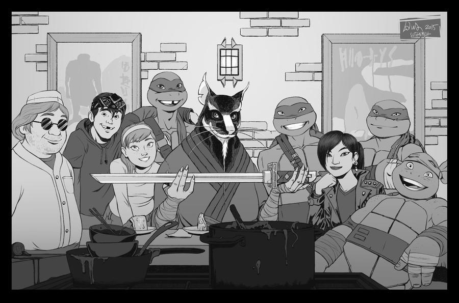 TMNT fanfic illustration - Sensei Day