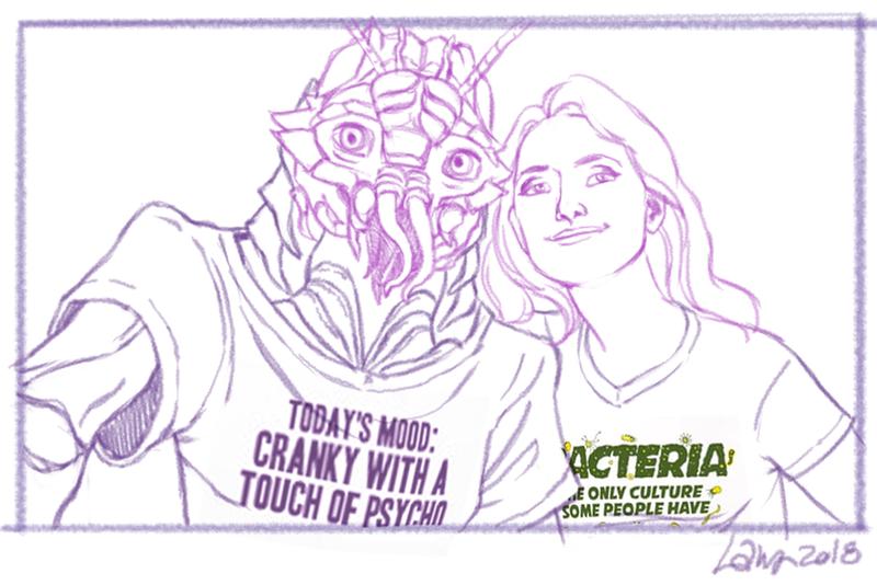 Commission - Helen and Kiri selfie final sketch by suthnmeh