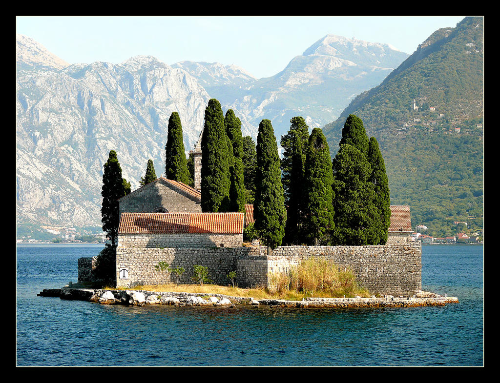 Island, Cypresses And Church - Kotor Bay by skarzynscy