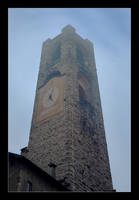 A Tower On A Foggy Winter Evening by skarzynscy