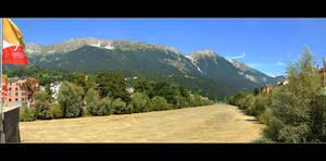 Between The Mountains (The Inn River In Innsbruck)