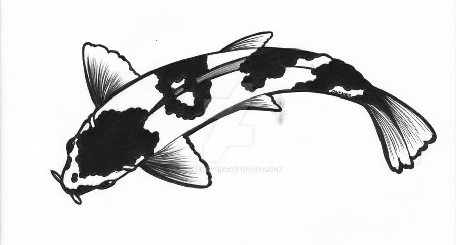 White and black koi by dananew1 on deviantart for Black white koi