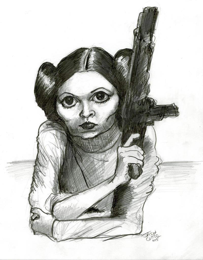Princess Leia caricature (graphite pencil sketch) by Caricature80