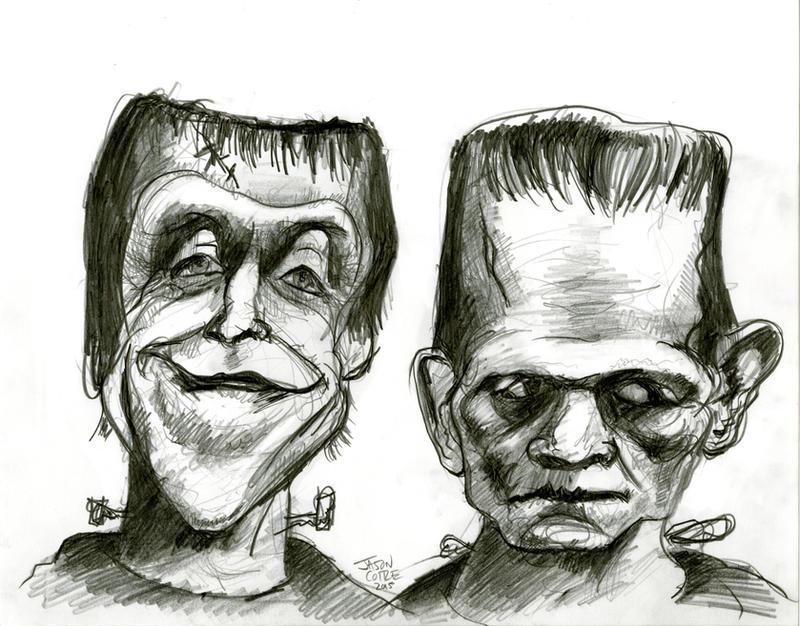 Herman Munster and Boris Karloff's Frankenstein by Caricature80