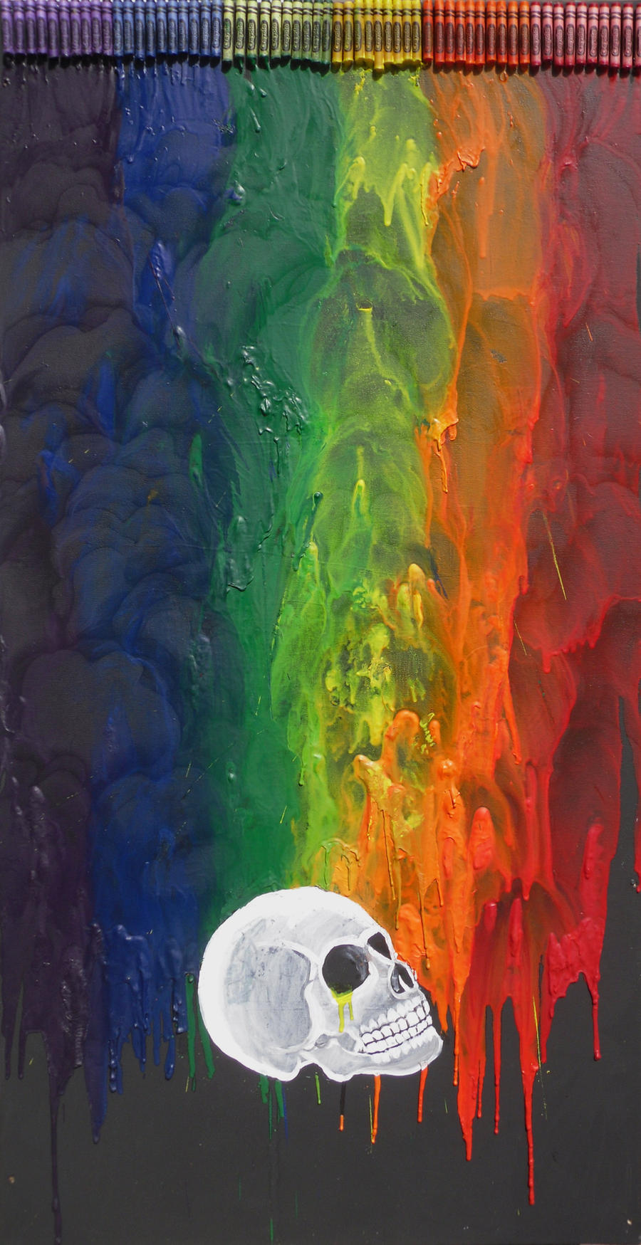Crayon Art - Rainbow Skull by randomranma