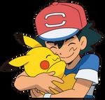 Ash and Pikachu Alola Hug