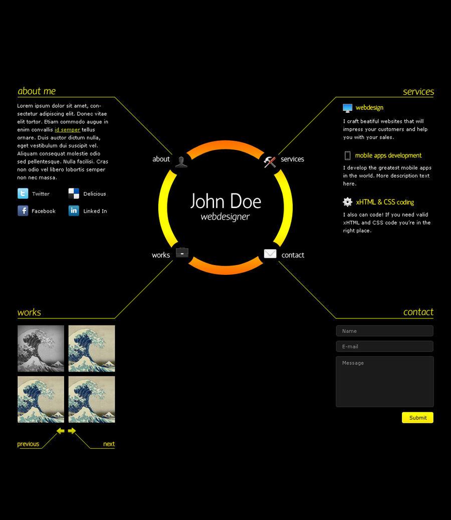 Electrosun one-page portfolio by denoizzed