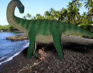 Casper the Caveboy and his pet Apatosaurus