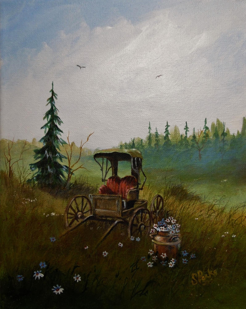 Out To Pasture Original 8x10 Acrylic by annieoakley64