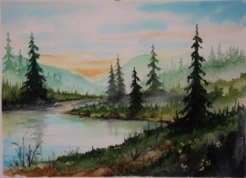 Original Watercolor 9x12 Mountain Pine Stream by annieoakley64