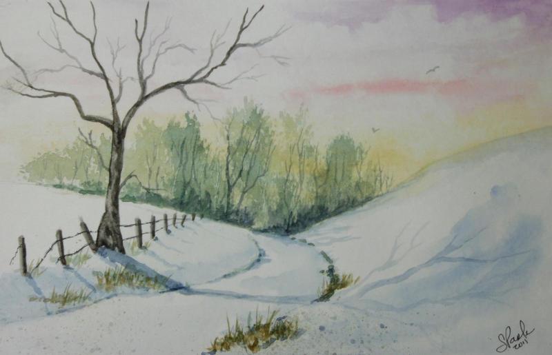 Original Watercolor Winter Shadows 9x6 by annieoakley64