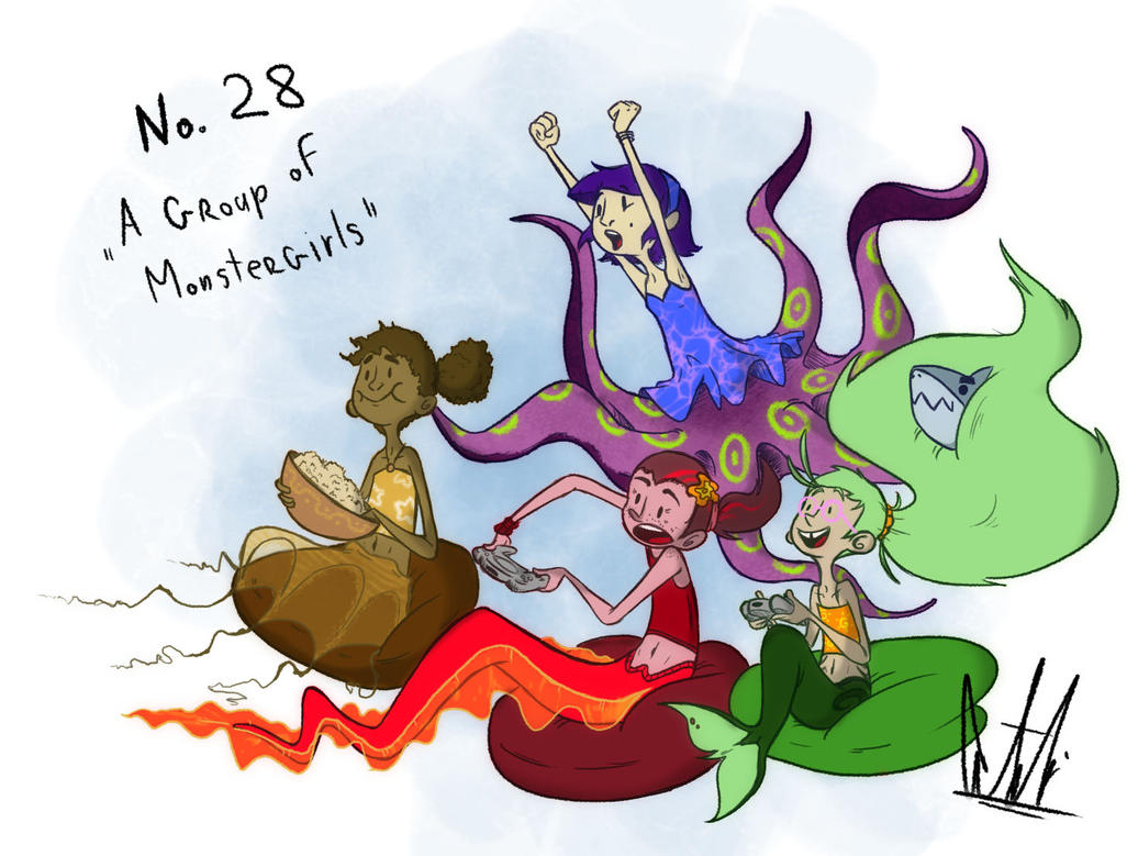 30 day Monstergirl challenge: Group of Girls by MindlessCreator
