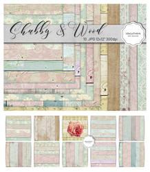 Shabby Wood Digital Paper Pack