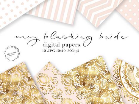 Blush Pink and Gold Paper - MY BLUSHING BRIDE