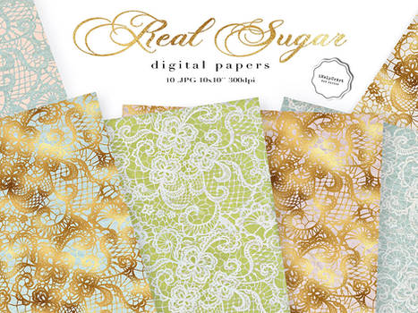 Lace Shabby Chic Digital Paper - REAL SUGAR