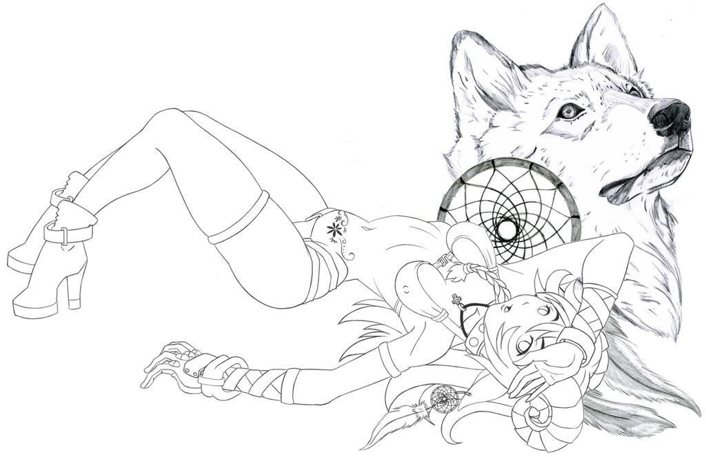 Wolf Dream Catchers Drawings Capricornio Wolf by inubad23