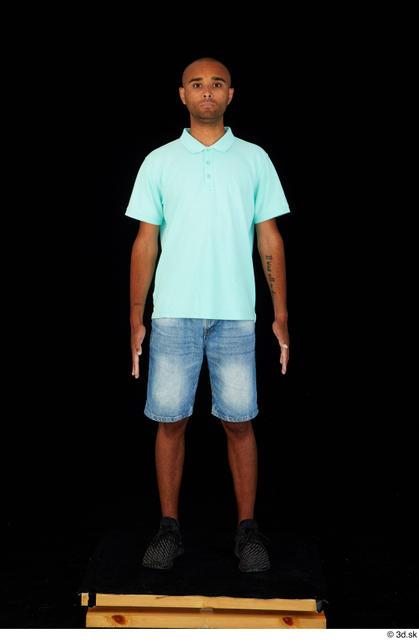 Whole-body-man-black-jeans-shorts-slim-standing-st by HumanAnatomy4Artist