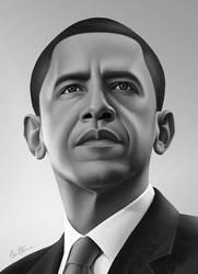 Barack Obama Portrait - 2 - by BenHeine