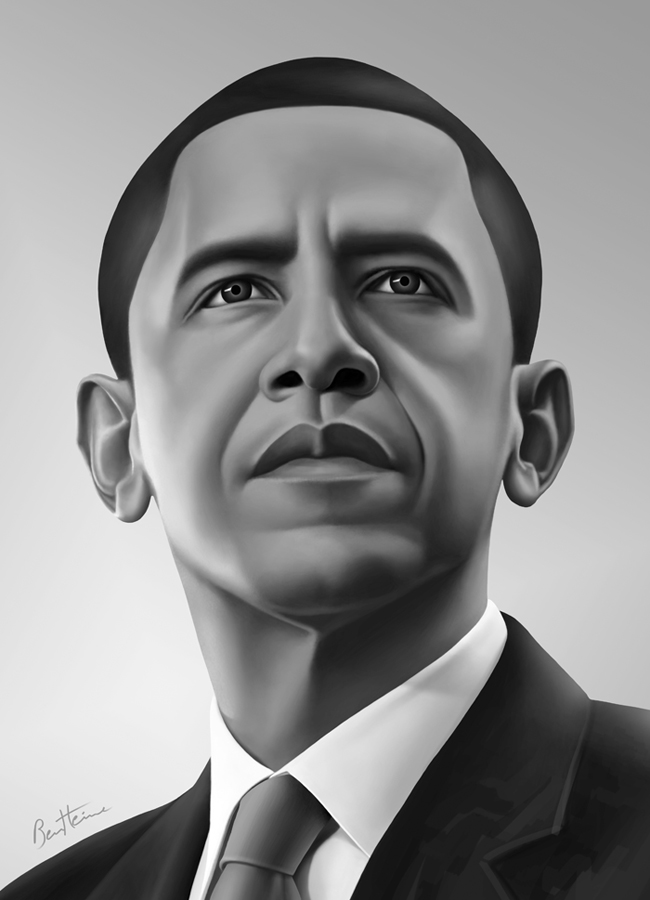 Barack obama portrait 2 by benheine