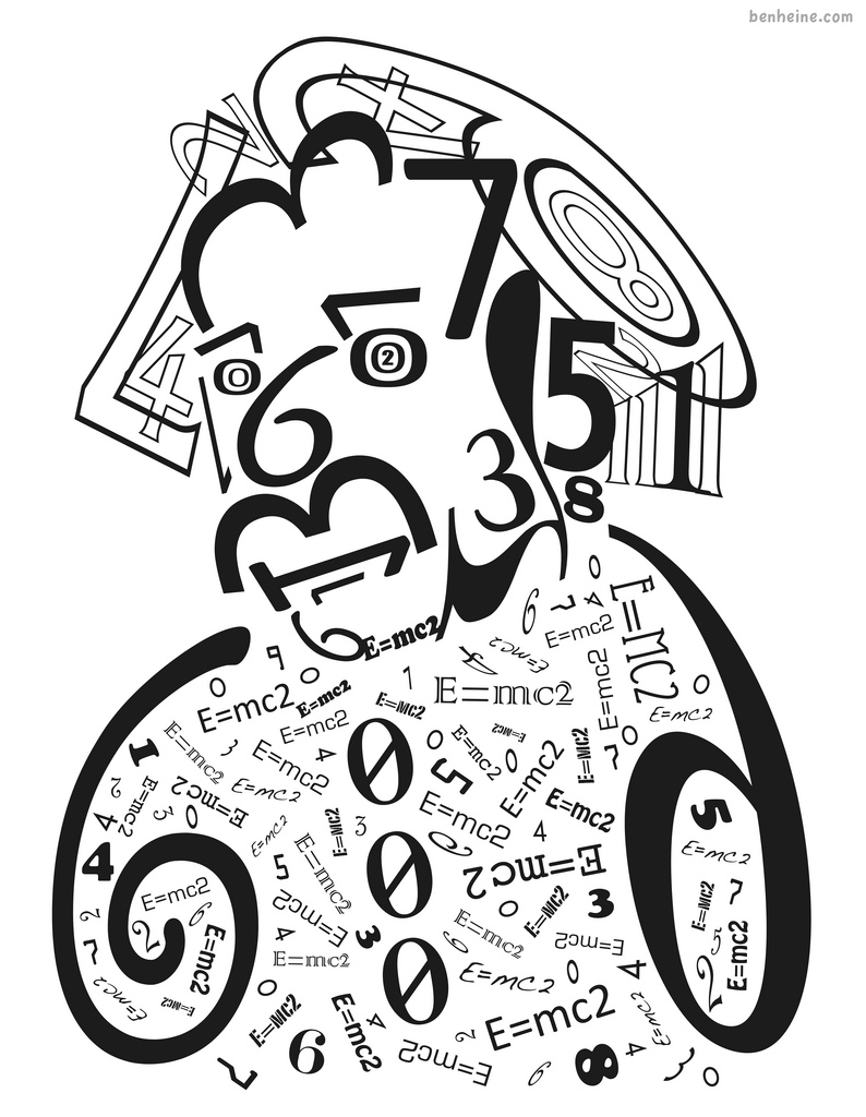 Albert Einstein in Numbers by BenHeine