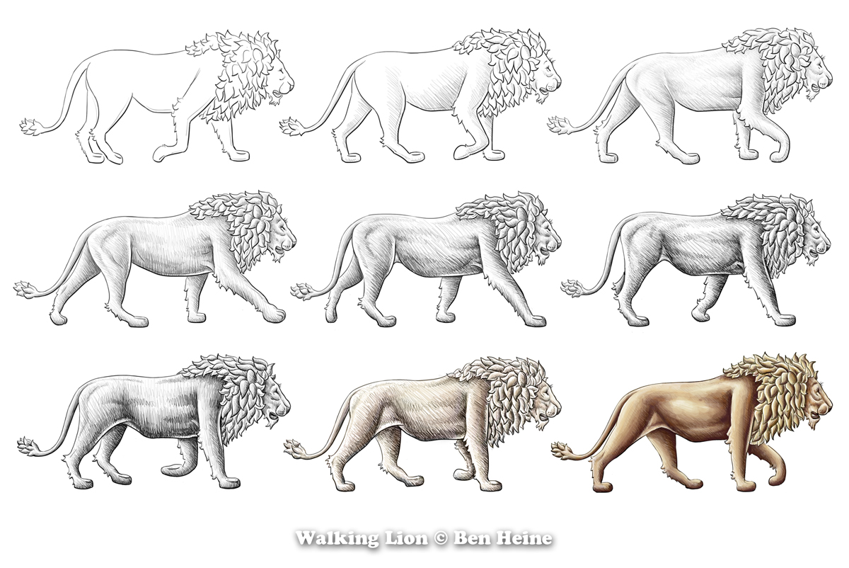 Walking Lion - In Progress by BenHeine