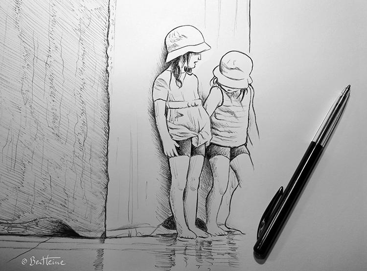 Children - Quick Ballpoint Sketch by BenHeine