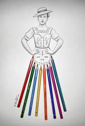 Woman in Traditional Dress (Sketch in Progress) by BenHeine