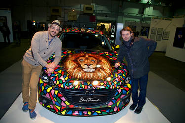 Ben Heine Art on Mazda Car at Affordable Art Fair by BenHeine