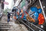 Colorful Graffiti in Soho, Hong Kong