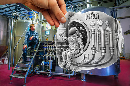 Pencil Vs Camera - Astronaut in beer Brewery