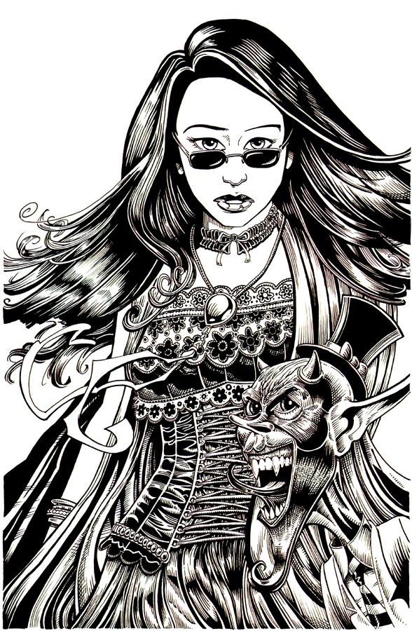 Ann Zanity and Skully by DavidAyala