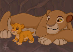 Sarabi and Simba cub by MarryGorgeous