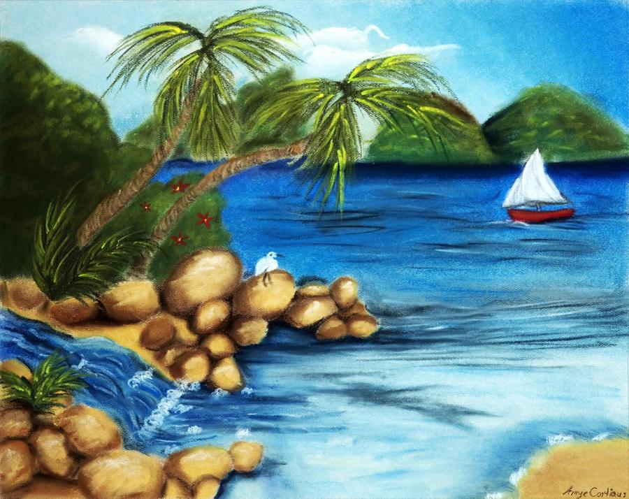 Beach Oil Pastel by
