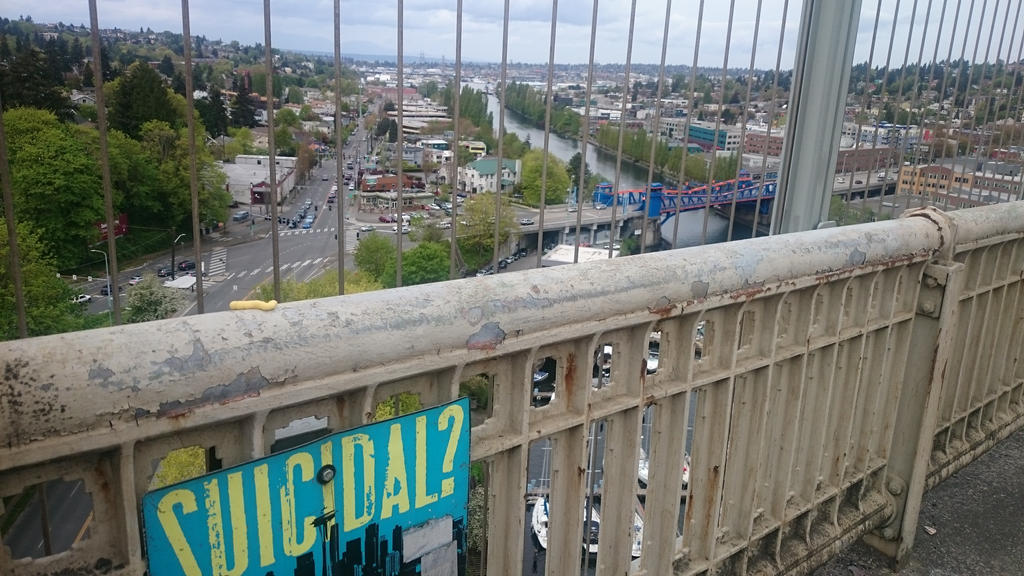 [Scraps] Suicidal? [Aurora Bridge, Seattle WA] by Pix3M
