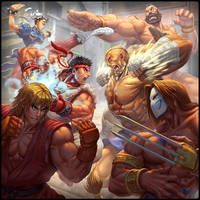 Street Fighter: The Miniatures Game cover art by Brolo