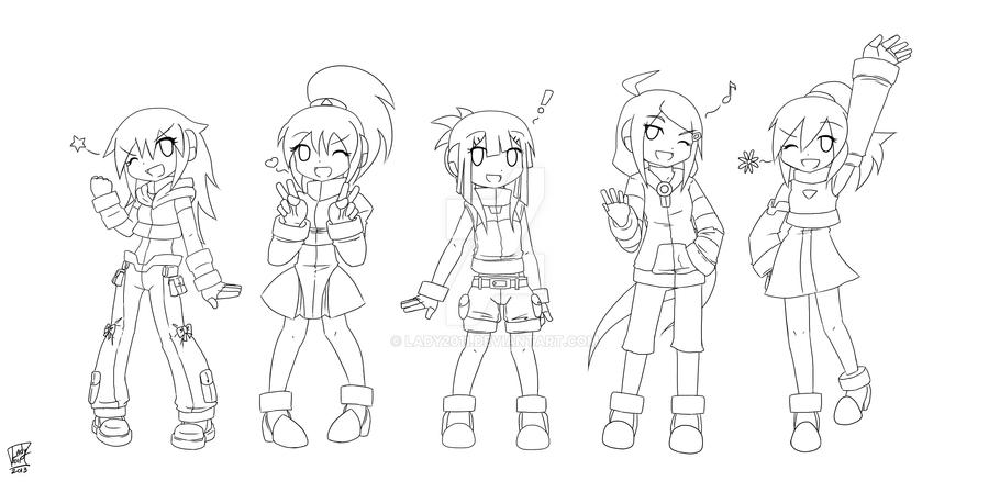 Team Girls ZX (LineArt) by Lady2011