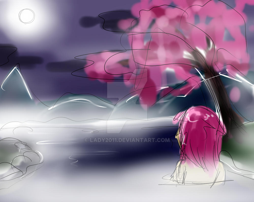-Quick sketch- Night at the hot spring by Lady2011