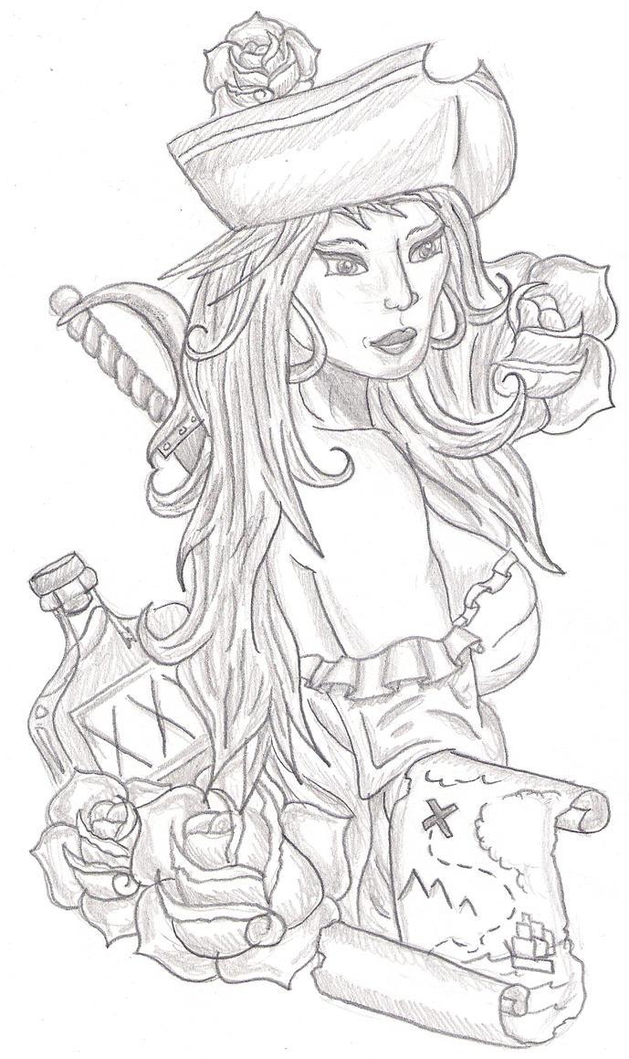 Female pirate drawing - photo#41