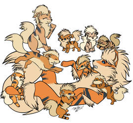 One Big Happy Growlithe Family by MintChiip