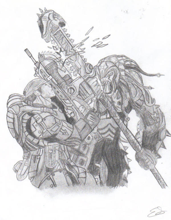 Marcus Fenix and Skorge-GOW 2 by poisonapple1982