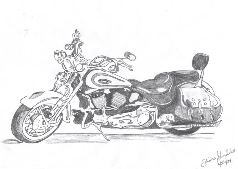 pencil drawing of harley davidson